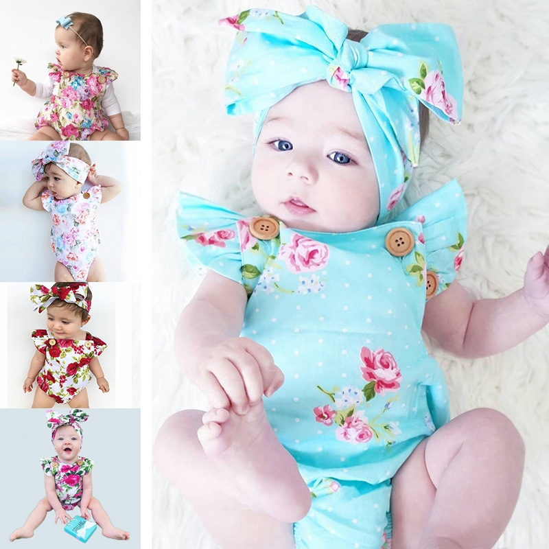 Floral Romper Cotton Baby Girl Rompers Summer 2018 Baby Knitted Clothes Toddler Jumpsuit Kids Romper Newborn Headband Bebe Ropa