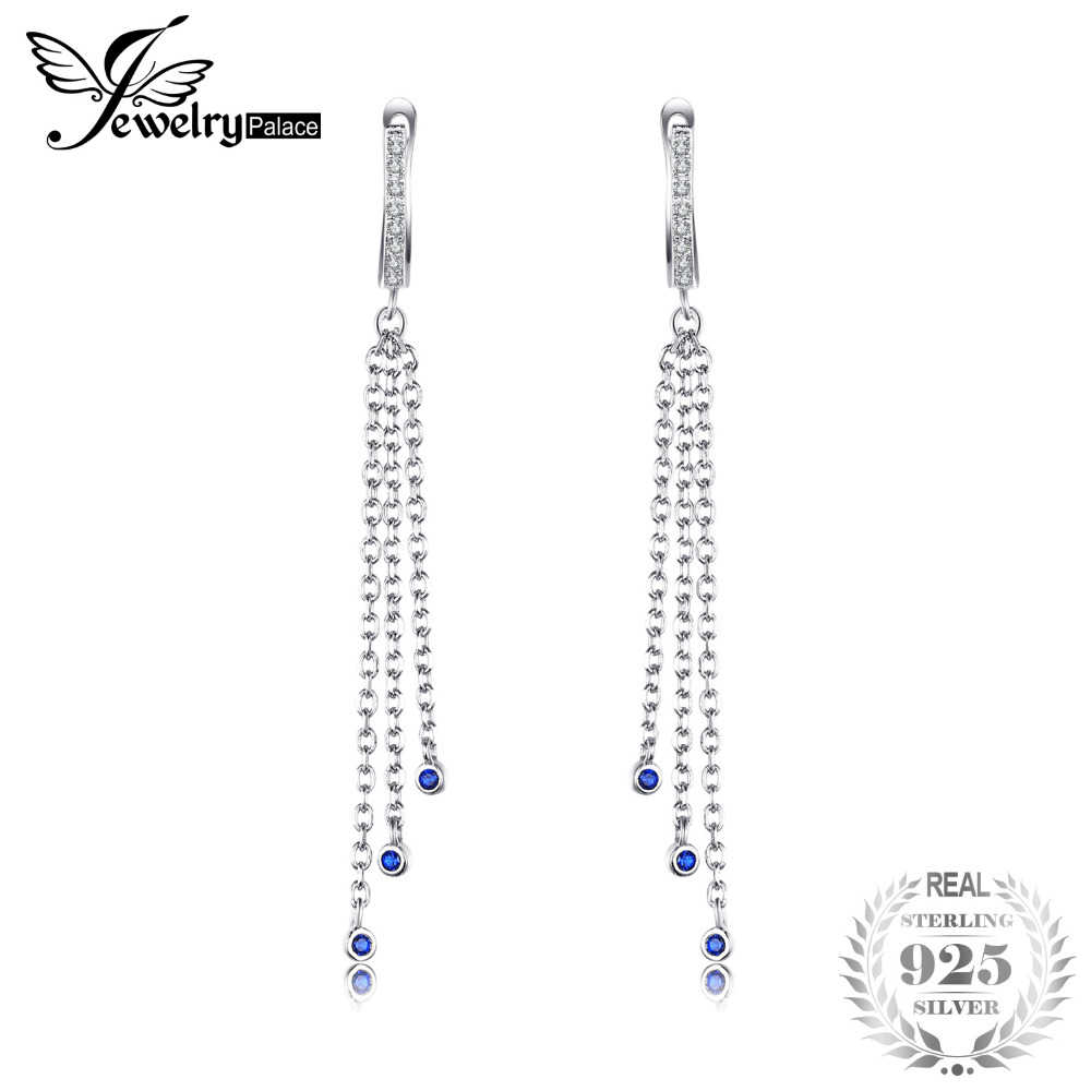 JewelryPalace Brand Fine Created Blue Sapphire Tassel Long Dangle Earrings 100% 925 Sterling Silver Accessories For Women
