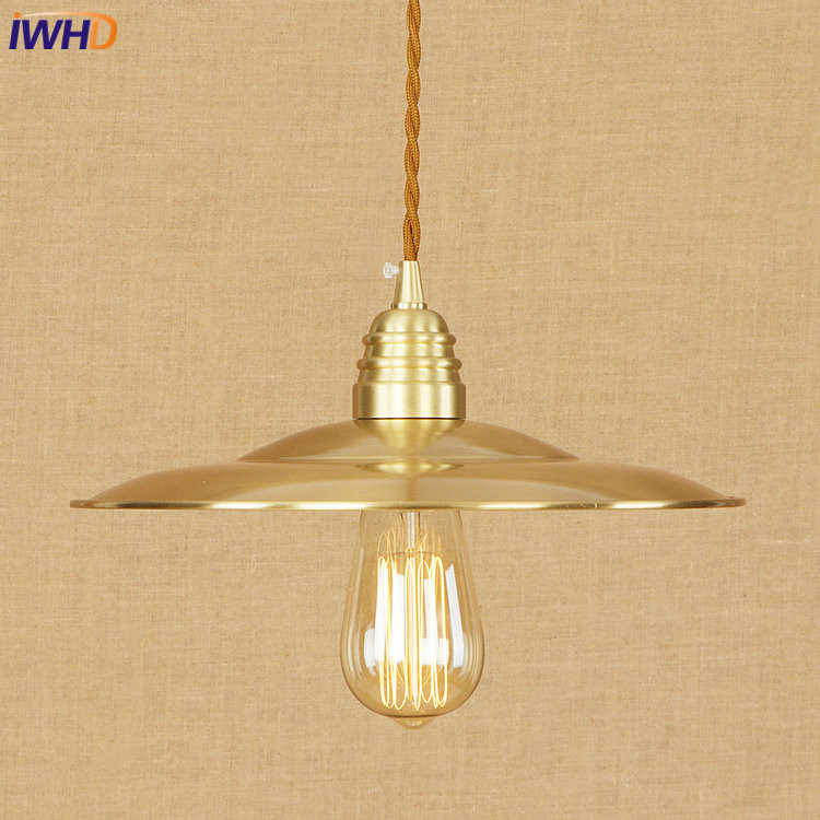 IWHD Nordic Copper Pendant Lights Loft Vinatge Industrial LED Pendant Lamp Creative Droplight Fixtures Home Lighting Luminaire iwhd iron nordic pink led pendant lights vintage industrial loft pendant lamp retro hanglamp fixtures home lighting luminaire
