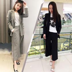 Повседневное костюм женский Корея 2018 Весна и Осень Новые Большие размеры красивый маленький костюм девять очков свободные штаны модные
