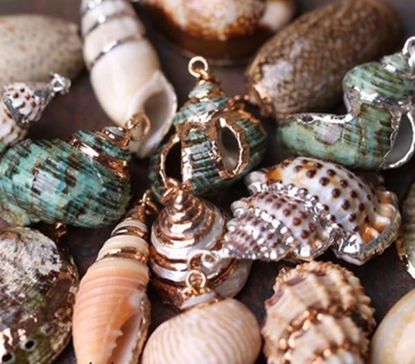 mix style Shell Charm Pendants Conch Sea Snail 3cm x 2.1cm-3.1cm x 3.5cm 30pcs цена
