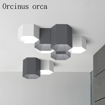 The Nordic Minimalist Modern Geometry Six Angle Ceiling Lamps Living Room Bedroom LED Macarons Candy Colored Ceiling Lamps