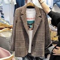 2019 Spring Autumn New Korean Short Plaid Suit Jacket Loose Casual Vintage Blazers Jacket Women's Coats X521