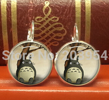 New hot Japan Anime Totoro dangles drop shipping earrings steampunk handmade jewelry stud 1pcs/lot 12mm/0.47inch for mens womens