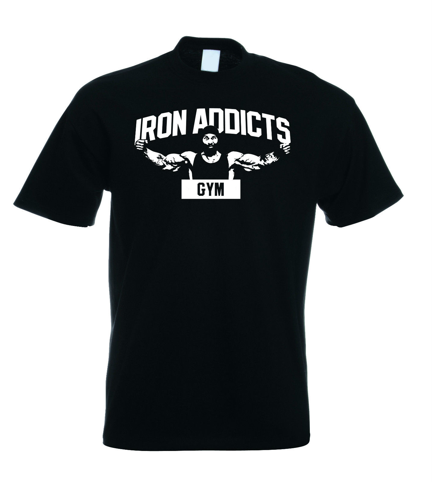 IRON ADDICTS GYMER T SHIRT CT FLETCHER MIKE RASHID - Black Sleeves Boy Cotton Men T-Shirt Top Tee Breathable