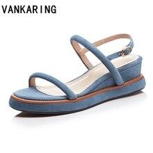 VANKARING лето женщины обувь Гладиатор сандалии натуральной кожи клинья высокие каблуки открытым носком черный синий женщины платье свободного покроя