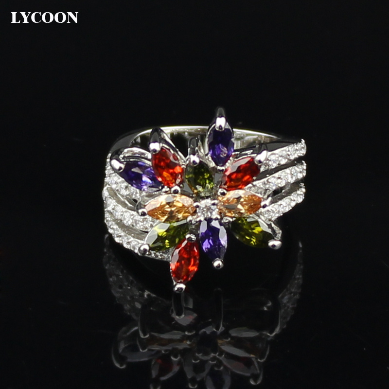 LYCOON Fashion jewelry rings pated yellow real silver prong setting colorful crystal Rings for woman flower shape Noble ring