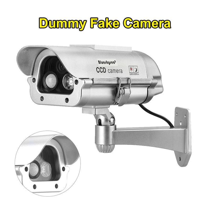 Blueskysea Solar Powered Fake Dummy Camera Human Sensor Surveillance CCTV For Indoor Outdoor With 15mm Black Plastic Len