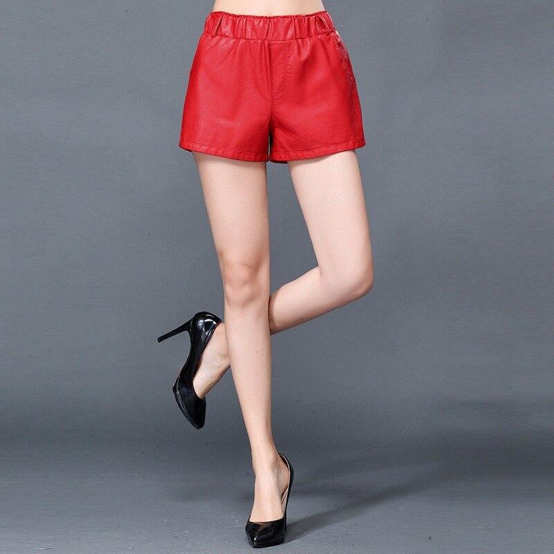 Haute qualité nouvelles dames en peau de mouton véritable Shorts en cuir Slim Fit Punk décontracté taille élastique jambe large pantalons courts pour les femmes