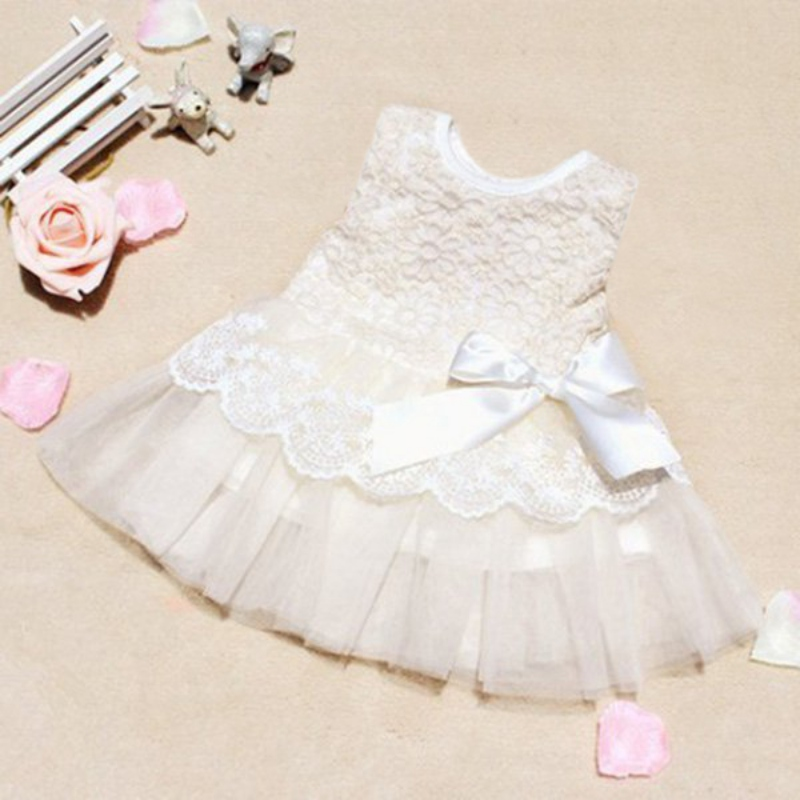 2017 Kids Girls Sleeveless Lace Crochet Princess Dress Wedding Dress Formal Puff Dress