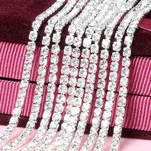 5 ярдов/шт. Белый стеклянный кристалл пришить стразы на цепочке серебристое дно Diy аксессуары для одежды SIJISHUIZUAN