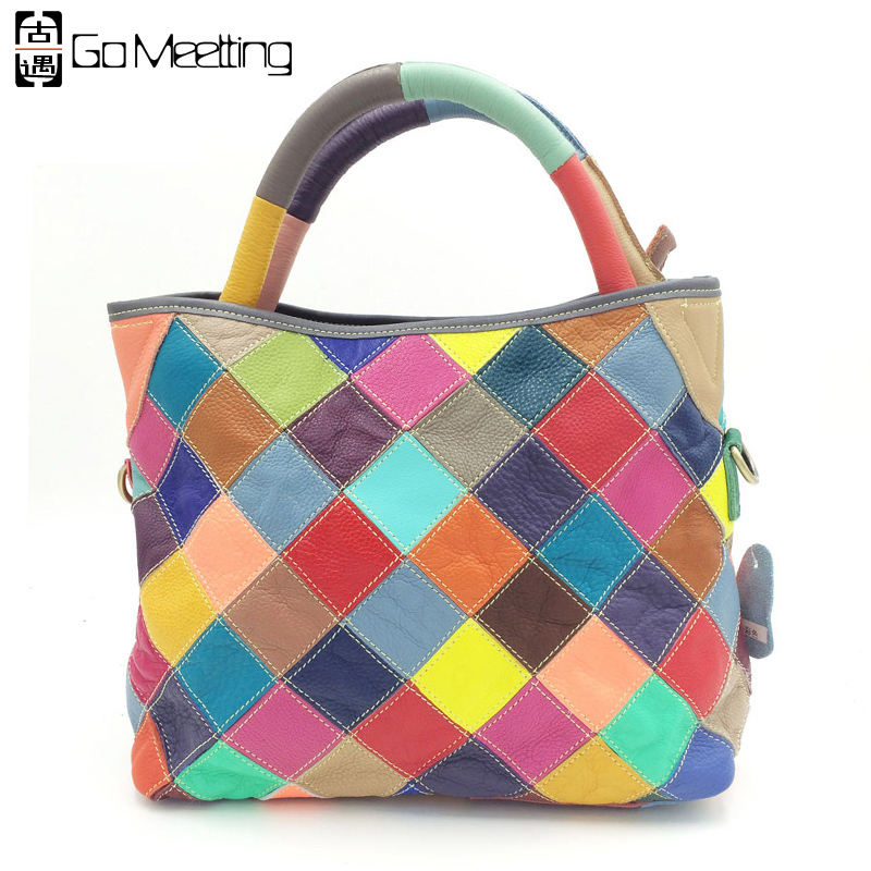 ФОТО Go Meetting Patchwork Genuine Leather Women's Handbags Fashion Cowhide Color Grid Women Shoulder Bags Cross Body Messenger Bags
