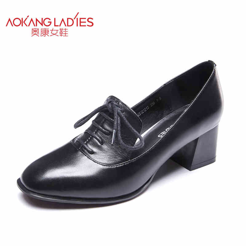 AOKANG 2016 Newest design Genuine leather women Shoes Med square Heel Lace Up Women Pumps black red  Ladies Shoes free shipping браслет power balance бкм 9665