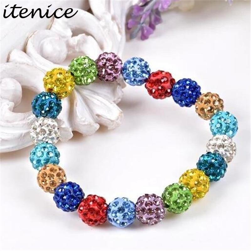 Fashion Itenice Fashion Jewelry Handmade Crystal Shamballa Bangles Strand Shambala Charm Stone Chain Beads Bracelets For Women