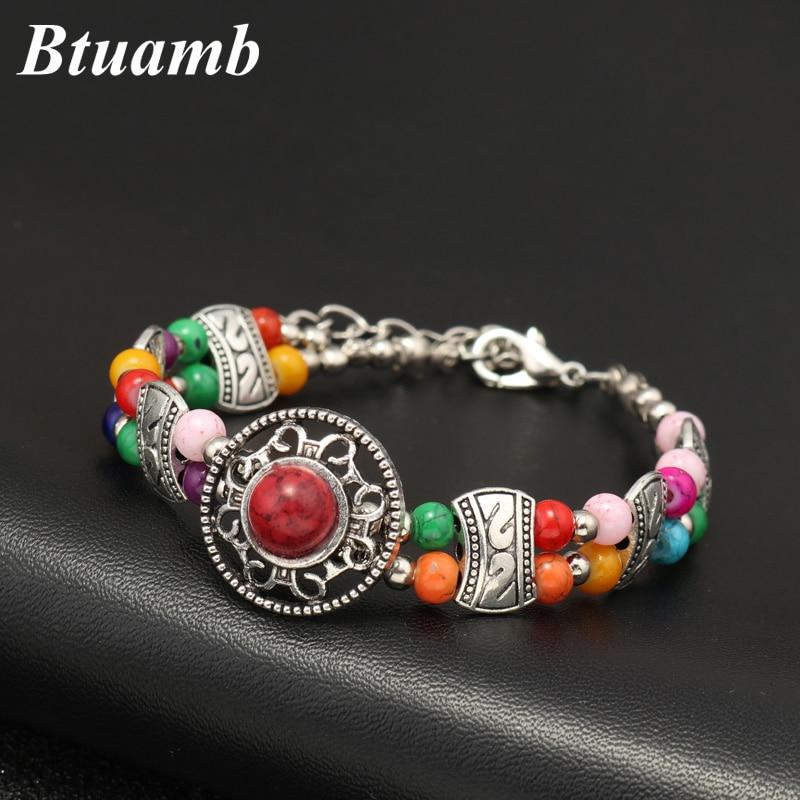 Btuamb Vintage Ethnic Women Tribal Jewelry New Maxi Bohemia Natural Stone Beads Bracelets & Bangles for Femme Wristband Bijoux