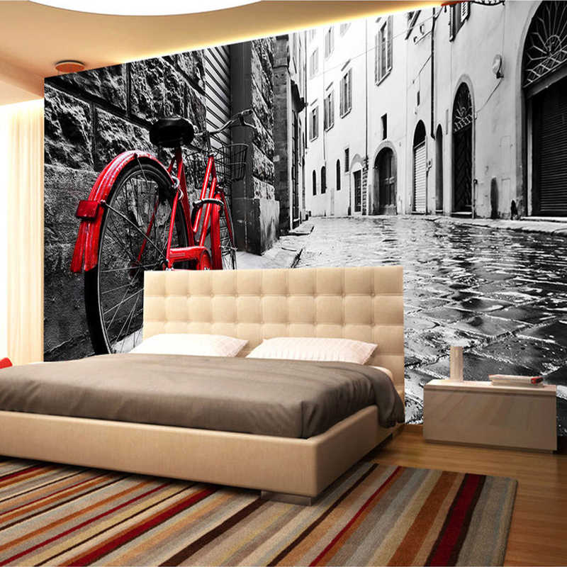 Custom 3d Wallpaper Retro Street View Bikes Black And White Photo Background Wall Decor Mural Wallpapers For Living Room Bedroom