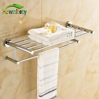 Luxury Rose Gold Bath Dual Towel Bars Soild Brass Wall Mount Towel Hanger