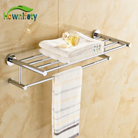 Luxury Chrome Polished Bath Dual Towel bars Soild Brass Wall Mount Towel Hanger