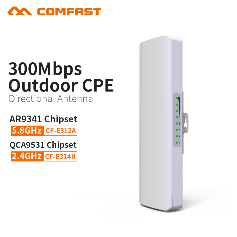COMFAST 300Mbps Series Outdoor wireless bridge 5.8G 2.4G single frequency CPE 14dBi Wifi Router Receiver For IP Camera Project comfast 5ghz outdoor wifi bridge 300mbps long range 1 3km cpe for ip camera monitoring project wifi router ap 2 14dbi antenna