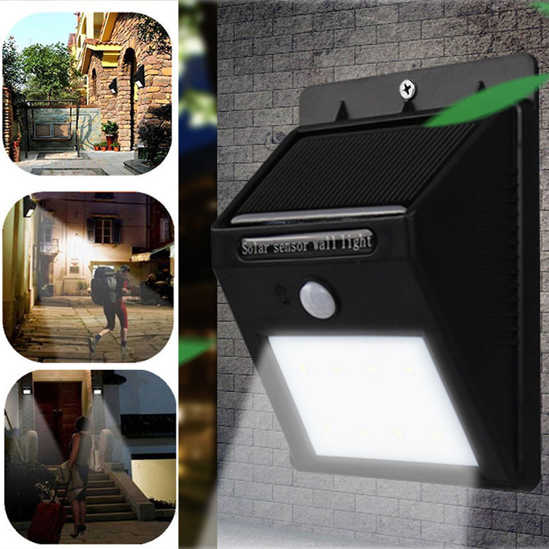 LED Солнечный Безопасности Беспроводной связи водонепроницаемый датчик движения света 8 свет Открытый Путь Бра освещения-M25