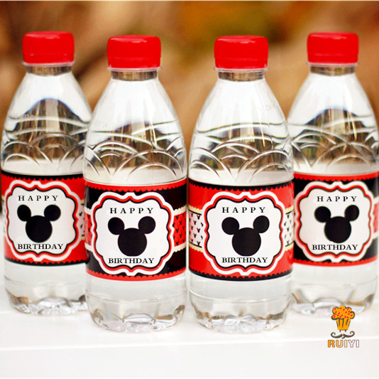 24pcs mickey mouse water bottle label candy bar decoration kids birthday party supplies baby shower party favor aw 0604 in party diy decorations from home