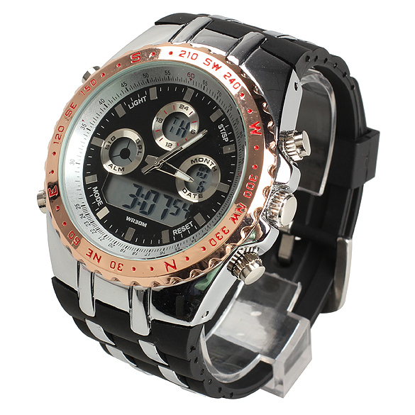 Decent Electronic Quartz Sports Watch With Alarm Clock Stopwatch Backlight 3 Colors