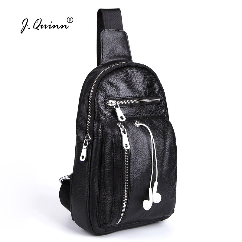 J.Quinn Genuine Leather Men Chest Packs Bag Single Shoulder Men's Crossbody Messenger Bags Soft Cowhide Small Male ChestPack New bull captain2017 fashion genuine leather crossbody bags men small brand music messenger bags male shoulder bag chest bag for men