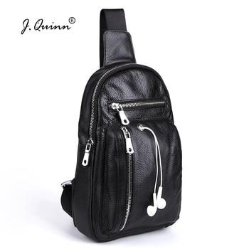 J.Quinn Genuine Leather Men Chest Packs Bag Single Shoulder Men's Crossbody Messenger Bags Soft Cowhide Small Male ChestPack New