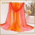 Горячий продавать Женщин Весна Лето жоржет Шифон платок Longl Шарф ручной росписью градиент цвета шарфы