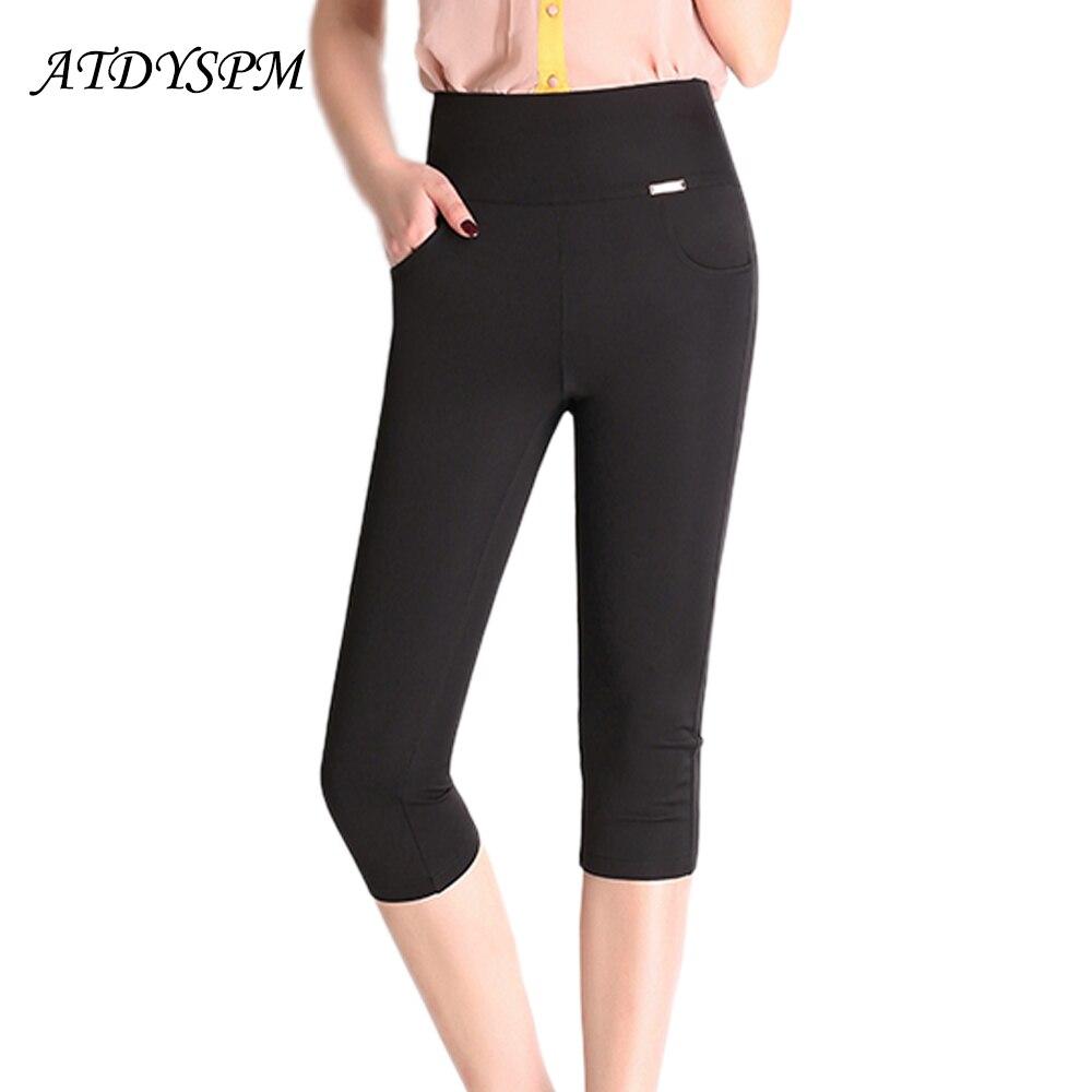 New 2019 Fashion Women's High Waist Pencil   Pants     Capris   Plus Size 5XL 6XL Women Casual   Pants   High Stretch Skinny Summer   Pants