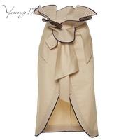 Young17 Fashion Stylish Ruffles High Waisted Pencil Skirt Split Up Knee Length Ladies Skirts Brown Skirt