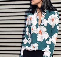 New EQ 100 Silk Special Color Flower Print Ladies Long Sleeve Blouses Women Silk Shirt Spring