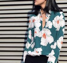 EQ 100% washed-silk floral-print Ladies long sleeve  blouses women flower silk shirt  spring autumn