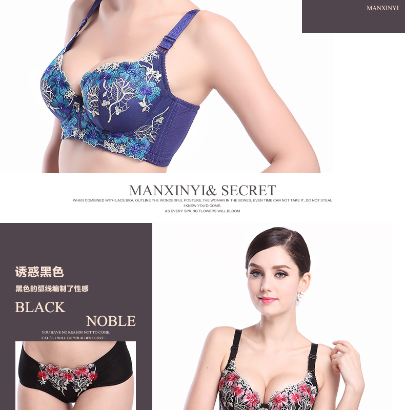 Europe and the United States embroidered thin bra set girls gathered to adjust the sexy ring underwea