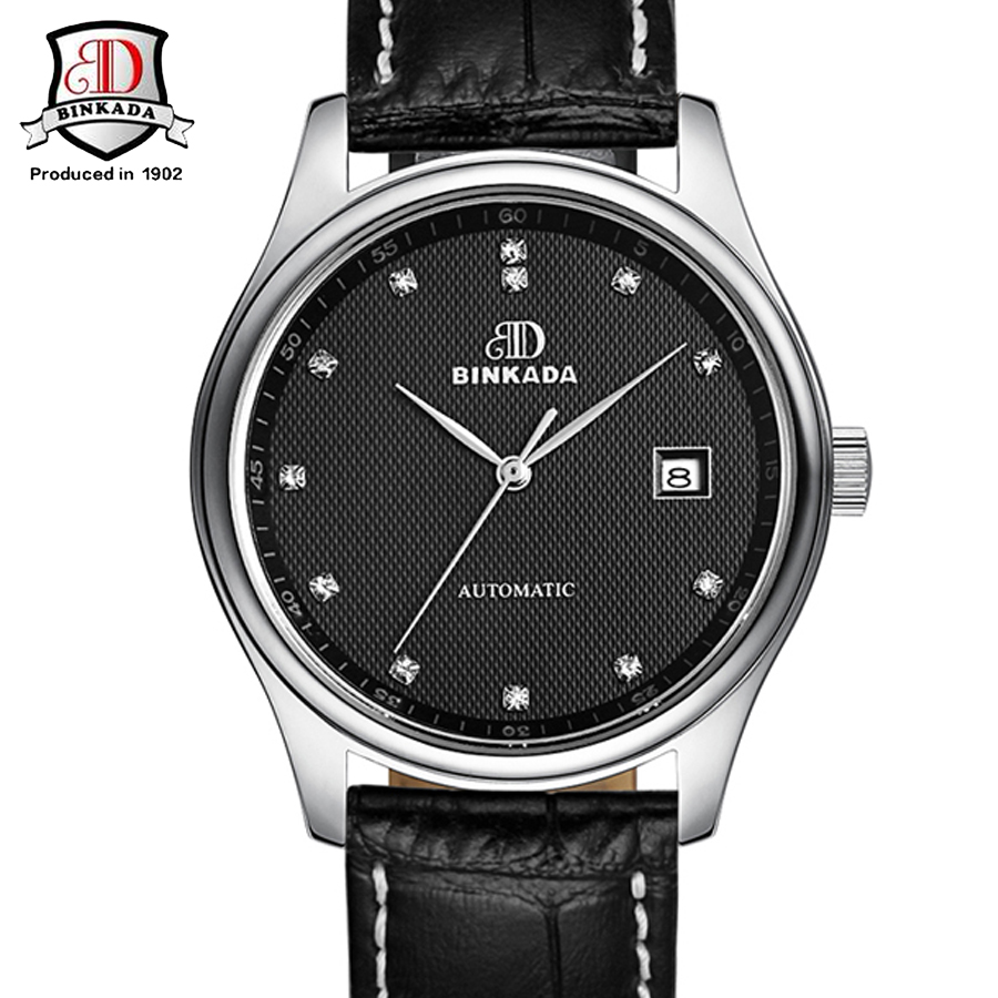 Mens Watches Classic Mens 2017 BINKADA AUTO Date Automatic Mechanical Watch Self-Winding Analog Black Leather Man Wristwatch 2016 hot sale auto mechanical self winding leather strap automatic silver mens watch black page 4