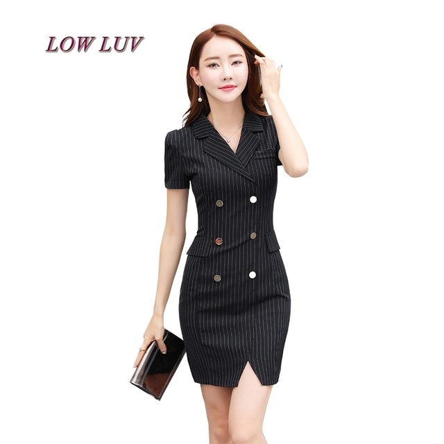 Double Breasted Suit Collar Slim Thin Waist Sleeveless Vest Dress