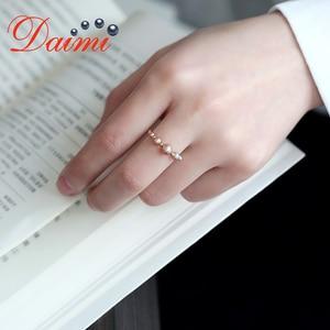 Image 5 - DAIMI حساسة خاتم اللؤلؤ 18K خاتم من الذهب الأصفر Adjustale 5 5.5 مللي متر الأبيض مذهل تماما خاتم اللؤلؤ المستديرة
