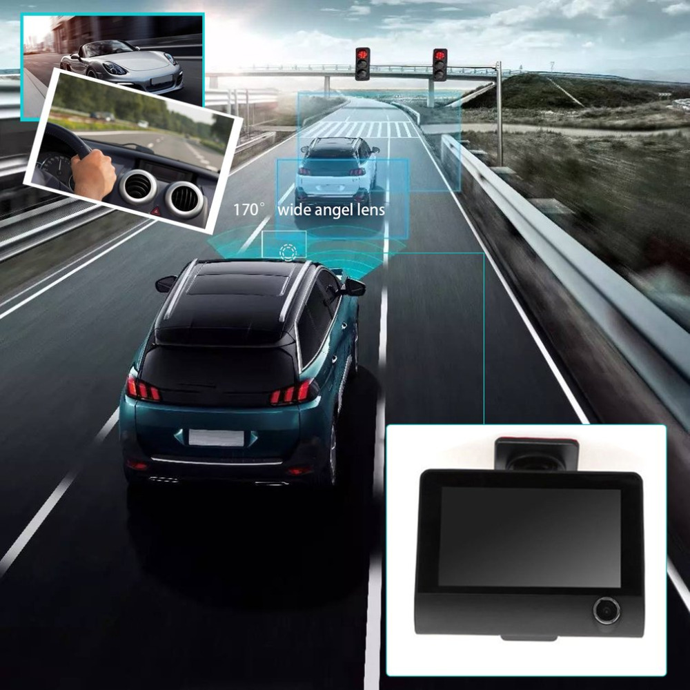 2017 Car Video Recorder Rearview Camera 4.0 LCD Display Dual Lens G-Sensor HD 1080P Car DVR Dash Cam  Vehicle Recorder