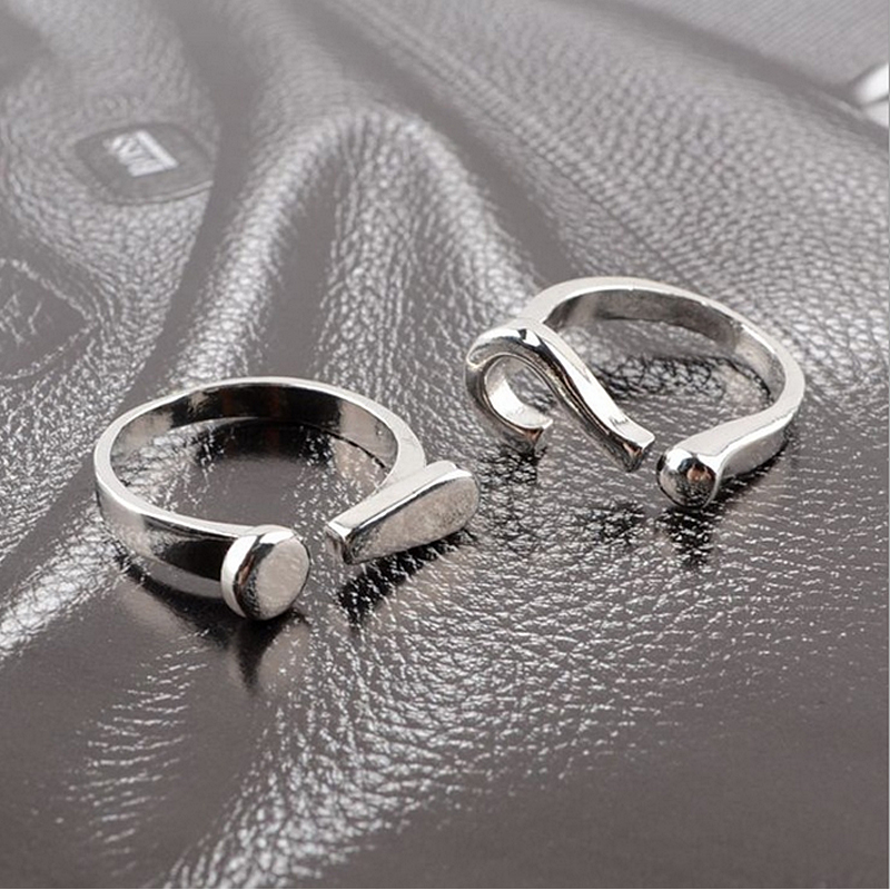 10pcs/Lot Wholesale Funny Question Mark Eexclamatory Point Rings Adjustable Size For Men Women Girls Can Mix Color