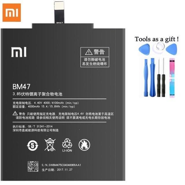 Оригинальный Батарея BM47 для Xiaomi Redmi 3 3 S 4X 3X Замена батарей 4100 мАч высокое Ёмкость литий-полимерный Bateria