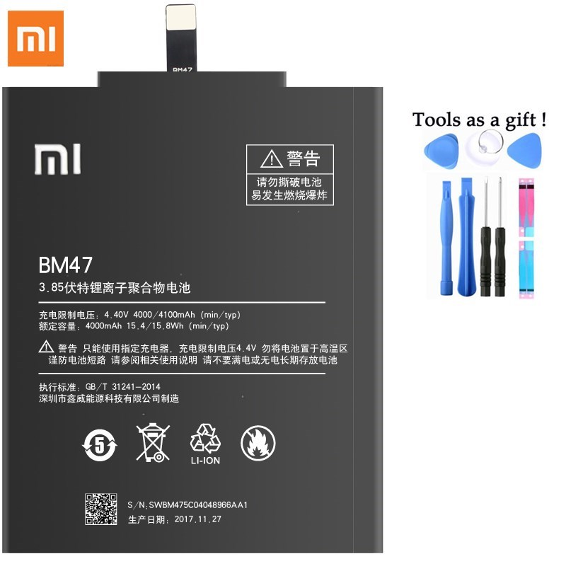 Original Battery BM47 For Xiaomi Redmi 3 3S 4X 3X Replacement Batteries 4100mAh High Capacity Lithium Polymer Bateria