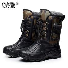ÁRTICO PISTAS Marca Otoño Invierno hombres Calientes botas de nieve de moda militar pesca esquí impermeable simple casual mitad de la pantorrilla zapatos