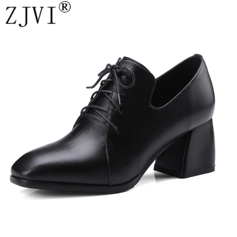 ZJVI women genuine leather square high heels pumps square toe work woman ladies fashion lace up 2018 spring autumn black shoes 3 inch autumn horsehair platform square toe creepers high heels yellow ladies green wedge shoes genuine leather wine red pumps