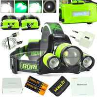 BORUIT B22 Rechargeable Zoomable Headlamp XM L2+2X XPE Green LED Hunting Micro USB Headlight Zoom Head Torch 18650 Battery