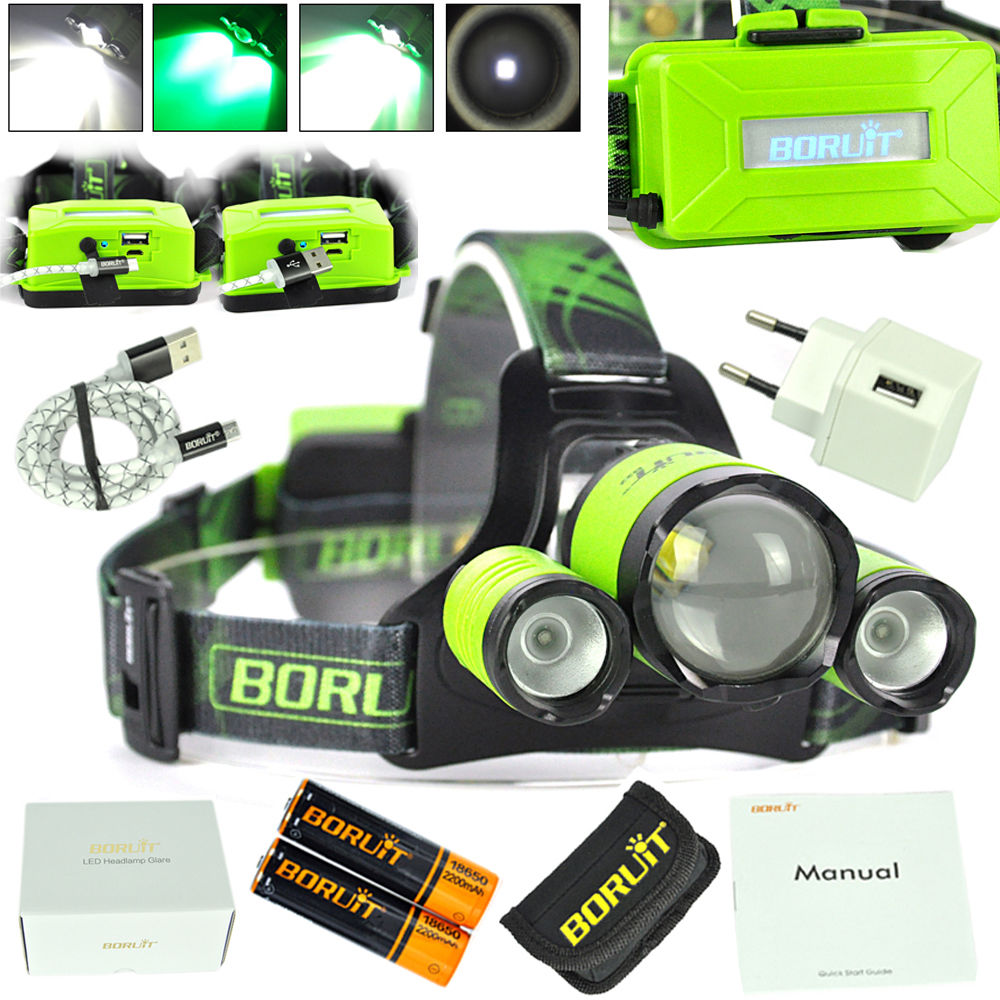 BORUIT RJ5000 Plus B22 Rechargeable Zoom XM-L2+2X XPE Green LED Hunting Headlamp Micro USB Headlight Torch boruit b13 cree xm l2 led headlamp rechargeable camping headlight lamp torch rechargeable linterna antorcha bicycle head light