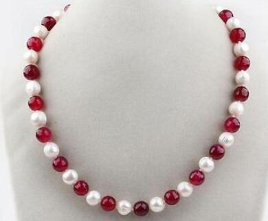 7-8mm White Freshwater Pearl and Red stone 8mm Beads Necklace 17""