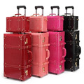 13,22, 24 pulgadas de mujer vendimia juegos de equipaje de la PU maletas de viaje, equipaje Hardside Spinner Trolley bolsas de equipaje maleta para las muchachas