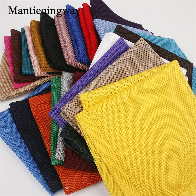 Casual Knitted Pocket Square Polyester Hanky Solid Color Black Business Handkerchief For Men Knitting Chest Towel