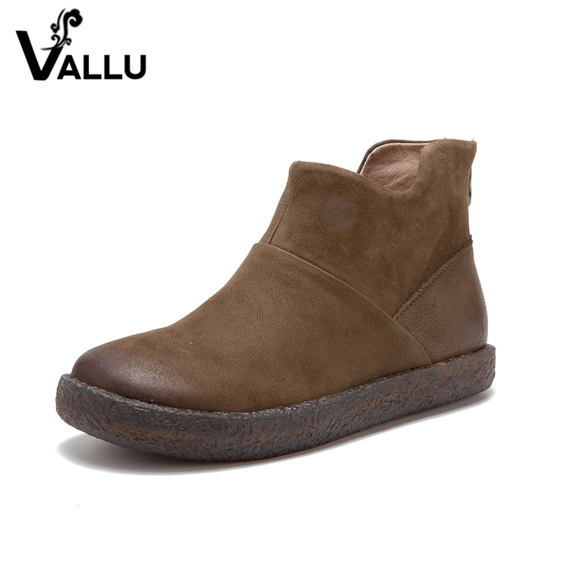 2018 Autumn VALLU Handmade Shoes Women Ankle Boots Genuine Leather Round Toes Vintage Zipper Ladies Boots 2018 vallu new leather shoes women ankle boots round toes buckle zipper handamde vintage flat platform ladies boots