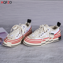 HQFZO Distressed Retro Platform Chunky Sneakers Casual Canvas shoes